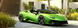 2020 Lamborghini huracan EVO Spyder green exterior parked in front of wall and gate