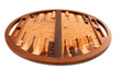 A rounded wooden backgammon table by Brian Boggs is just one example of the handmade work available for purchase with the Western Design Conference 2020 Digital Sourcebook.