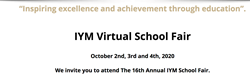 IYM's Virtual Prep School Fair will occur on October 2nd, 3rd, and 4th, 2020