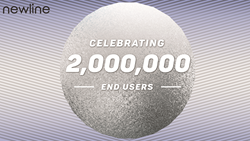 "Celebratory image with the Newline logo and text that says ""Celebrating 2,000,000 end users"""