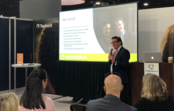 Dr John McKeon CEO Allergy Standards keynote at Tarkett Education Booth Greenbuild 2019