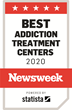 Red and white logo, Stating Best Addiction Treatment Centers 2020 by Newsweek, powered by Statista