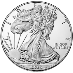 2020 American Eagle One Ounce Silver Proof Coin Obverse