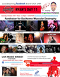 Colorful poster with red, black, and white graphics featuring images of all the performers scheduled to play Ryan's Day 11 live streaming fundraiser for Duchenne Muscular Dystrophy scheduled for October 24th 2020 from noon-6:30pm CST.