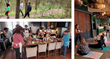 A collage of three pictures. 1. People walk on a wooded path, 2. People working on a kitchen, 3. People listening to a speaker while sitting on yoga mats.