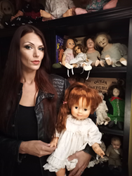 Staysha Randall with Katie the haunted doll