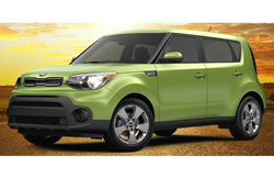 2018 Kia Soul Alien II green parked in desert