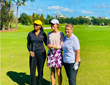 Erica Bennett and Deborah Bennett (right) with aspiring professional golfer Hannah Berman, who spoke to emphasize the meaning  creating playing opportunities at the developmental-level.