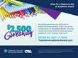 Colored pencils with $2,500 Giveaway graphic and text
