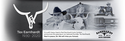 Black and White Images of Tex Earnhardt with Earnhardt Auto Bull Logo and Text