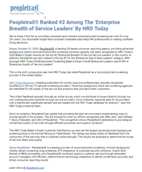 Peopletrail® Ranked #2 Among The 'Enterprise Breadth of Service Leaders' By HRO Today