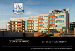 Best law firm award logo with the Durham, NC building of the Law Offices of James Scott Farrin