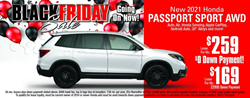 Atlantic Honda Black Friday Sale banner featuring the 2021 Honda Passport Sport AWD model