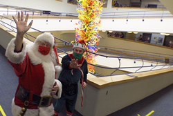 Santa's holiday parade circled around the largest Dale Chilhuly sculpture in the world at the largest children's museum in the world.