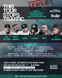"The ""Stop That Traffic"" tour, featuring Phil the Voice, 1K Phew, Bizzle, Arize, A.I. the Anomaly, and Miles Minnick, kicks off in Ventrua, CA, on Fri., Dec. 4."