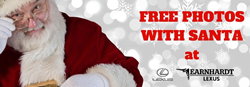 Santa Claus on a White Winter Background with Red Free Photos with Santa Text and Earnhardt Lexus Logo