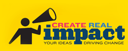 icon of person holding mega phone with words Create Real Impact - Your Ideas Driving Change