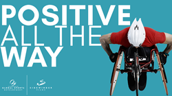 Positive All the Way movie title and man in racing wheelchair