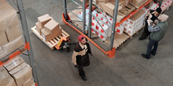 FluShields Staff in Face Mask and Medical Supplies Fulfillment Warehouse