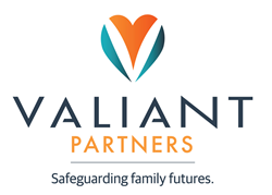 Valiant Partners heart-shaped logo with tagline: Safeguarding family futures.
