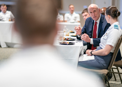 Former Director of National Intelligence, Dan Coats meets with cadets and students studying cyber security and intelligence at The Citadel in 2018.