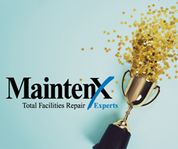 A golden award trophy is on its side, spilling out gold star confetti against a light blue background. To the left of the trophy is the MaintenX International logo.