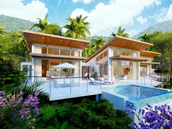 Chaa Creek's Ix Chel Rainforest Villas surrounded by green jungle and blue skies