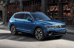 2020 Volkswagen Tiguan blue parked outside building at midday