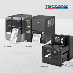 TSC upgraded models: MH Series performance industrial printers, MX Series performance industrial printers, and PEX Series industrial print engines