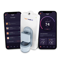 """With a simple finger scan, Wellvii's proprietary """"Wellvii Score"""" monitors 11 key health indicators, including blood pressure variability, pulse rate, oxygen saturation, temperature variability and many others."""