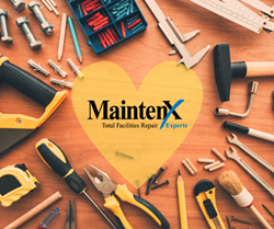 Work tools like hammers and screw drivers are arranged in a circle on a wooden surface. At the center is a sheer yellow heart with the MaintenX International logo in the middle.