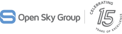 Open Sky Group logo with 15 year celebration mark.