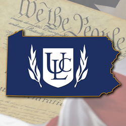 Graphical illustration of the state of Pennsylvania emblazoned with the shield and laurels logo of the Universal Life Church Ministries, all floating above an excerpt of the U.S. Constitution.