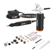 WORX 20V MakerX Rotary Tool and Airbrush Combo Kit includes MakerX Hub, 20V Power Share battery, 45 accessories with case, charger and storage bag.