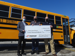 from left: Cliff Caton, Central States Bus; Jeff Baird, Transportation Director, Liberty School District; and Mark Porth, CHS Inc. and MOPERC Chair.