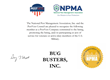 This certificate from the National Pest Management Association signifies Bug Busters' distinction as a PestVets Company.