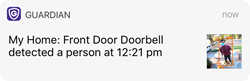 Photo of text image notification from Guardian Protection's new Video Doorbell Pro