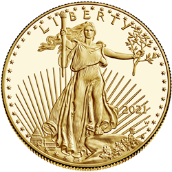 2021 American Eagle Gold Proof Coin Obverse, Classic Design