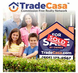 Family standing with a TradeCasa for sale sign in front of house.