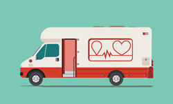 Illustration of blood drive van