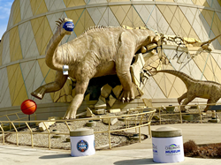 March Madness can be seen throughout Indianapolis as dinosaurs and fans get ready to host the games.