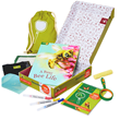 The Grandma & Me: Explore Outdoors includes a fact-filled storybook, A Busy Bee Life, Outdoor Activity Journal with dozens of fun and easy-to-do ideas, 10x magnifying glass, Solar print kit, Child-sized drawstring backpack, 3 fine-point paint pens, Sidewa