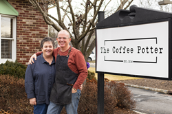 Geralyn and David Hickey in front of The Coffee Potter, their independent coffee shop in Long Valley, New Jersey