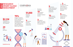 An infographic that describes the Lymphoma Research Foundation's research investment for 2021