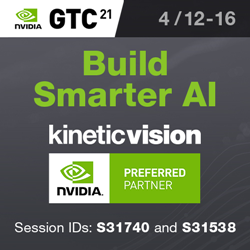 Banner Invitation to Nvidia's GTC21 Event Where Kinetic Vision is Speaking.