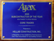 Hellas Earns AJAX Award As Subcontractor of the Year