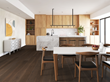 Kitchen and dining area with hickory wide plank wood flooring