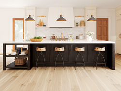 Kitchen with hickory wide plank wood flooring