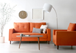 Mid-Century living room featuring the Holloway Sofa and Armchair in Burnt Orange