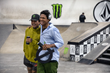 "Monster Energy's Nyjah Huston with Ishod Wair Who Took First Place in Street League Skateboarding ""Unsanctioned 2"" Pro Skateboarding Contest at Volcom Skatepark"